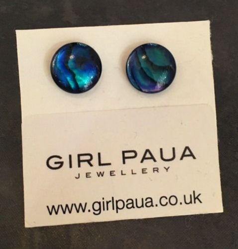 Paua Stud Earrings PE04 10mm BLUE CIRCLE (Medium-4)